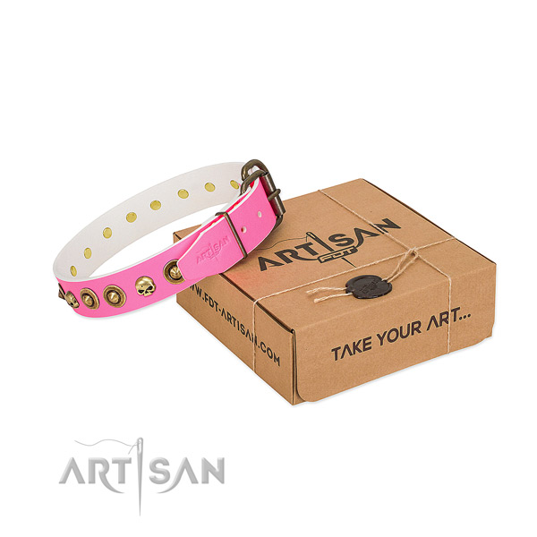 Full grain genuine leather collar with extraordinary adornments for your dog