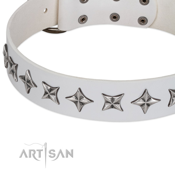 Easy wearing embellished dog collar of finest quality full grain genuine leather