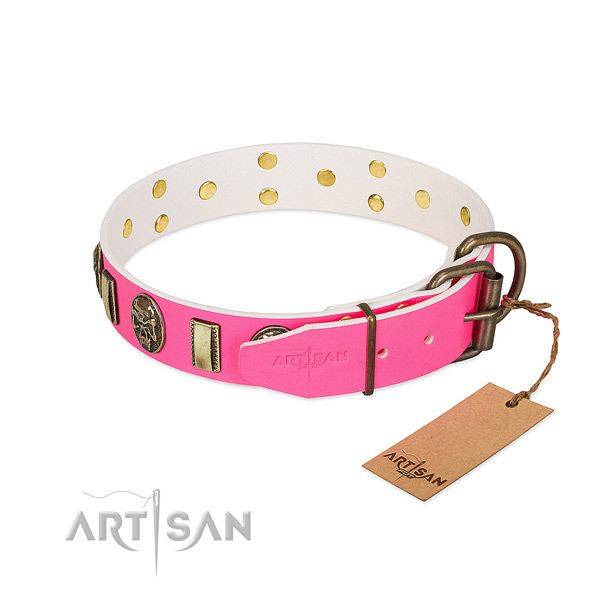 Reliable D-ring on full grain genuine leather dog collar for your canine