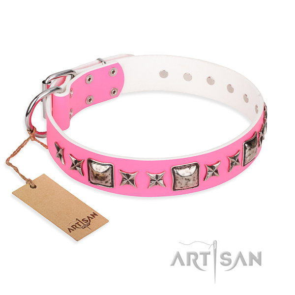 Genuine leather dog collar made of soft material with reliable traditional buckle