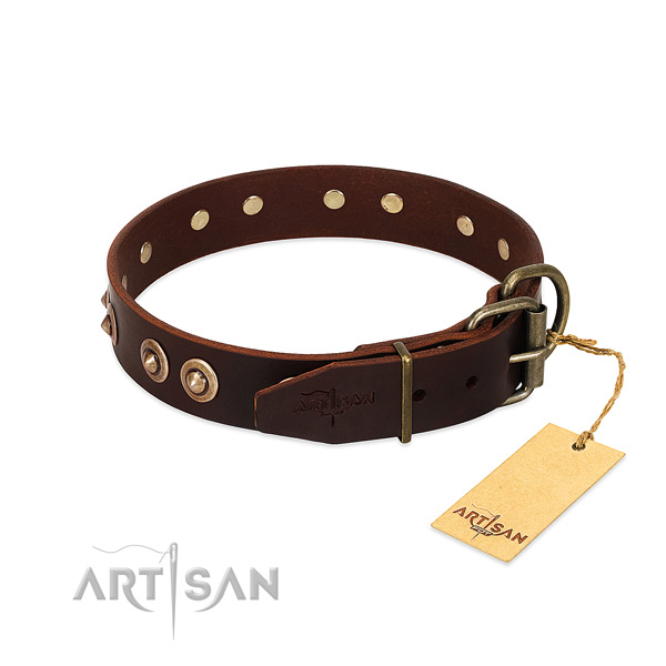 Reliable traditional buckle on genuine leather dog collar for your canine