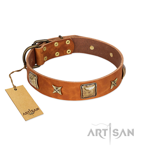 Designer natural genuine leather collar for your canine