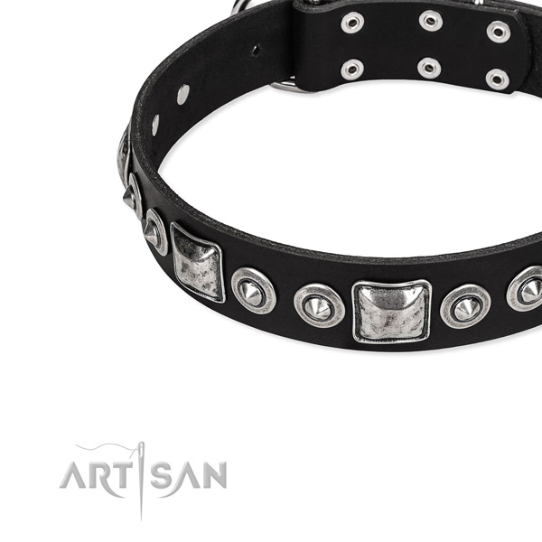 Full grain leather dog collar made of high quality material with decorations