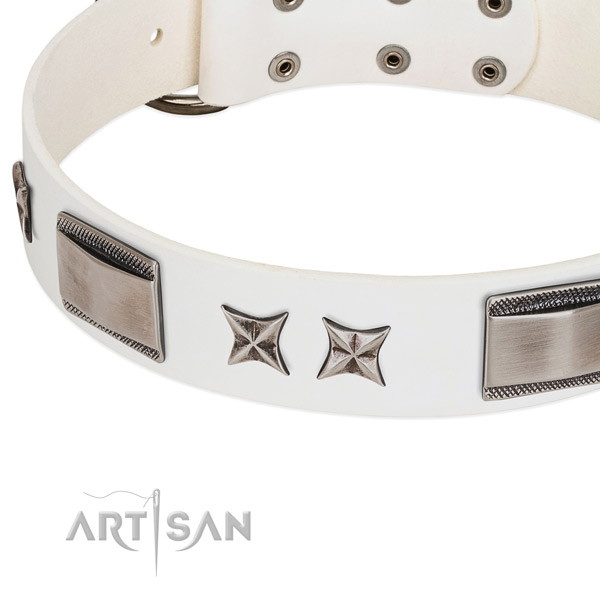 High quality full grain genuine leather dog collar with durable hardware