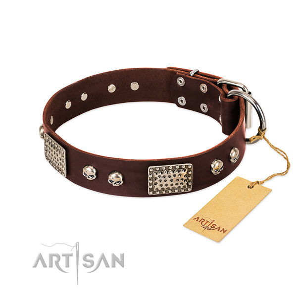 Easy to adjust natural genuine leather dog collar for everyday walking your canine