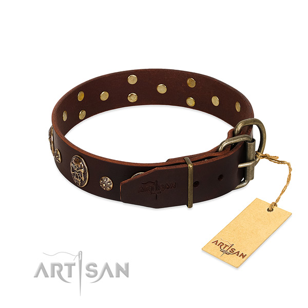 Rust resistant buckle on full grain genuine leather dog collar for your dog
