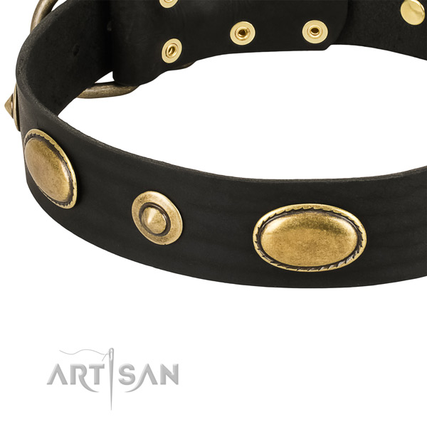 Rust-proof D-ring on genuine leather dog collar for your doggie