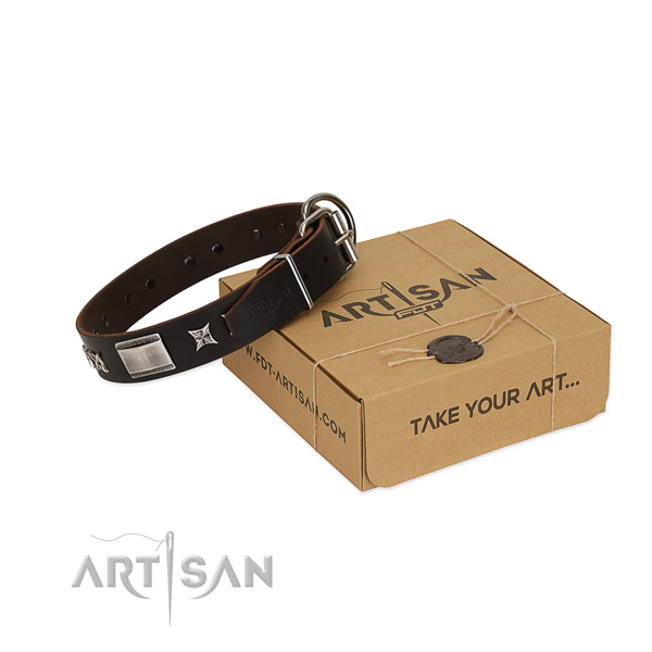 Top quality collar of full grain natural leather for your impressive pet