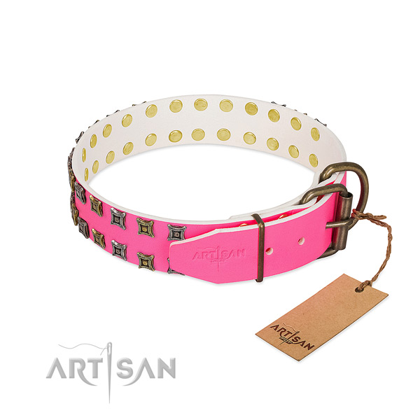 Leather collar with amazing decorations for your dog