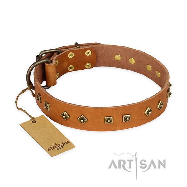 Exquisite full grain genuine leather dog collar with reliable fittings