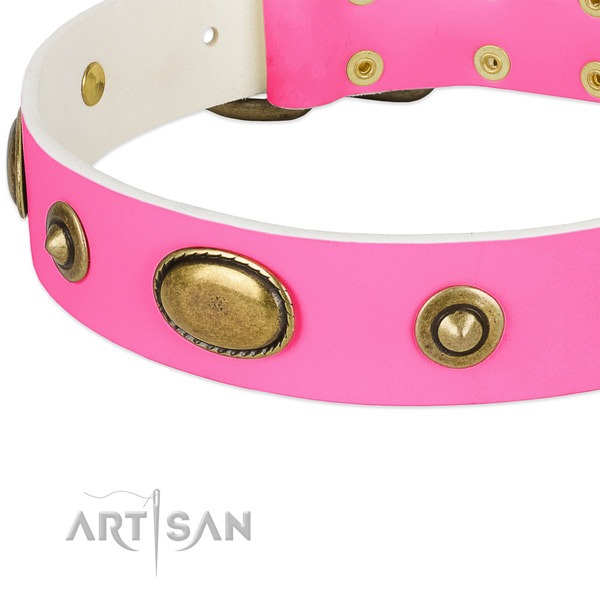 Corrosion resistant fittings on full grain genuine leather dog collar for your four-legged friend