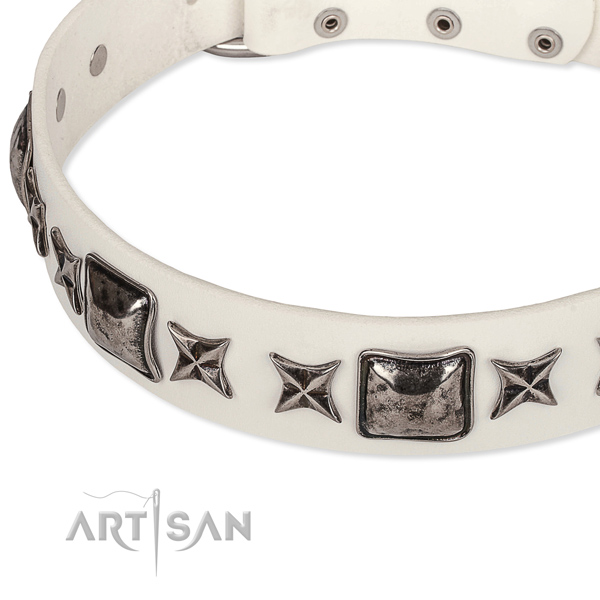 Easy wearing embellished dog collar of reliable full grain natural leather