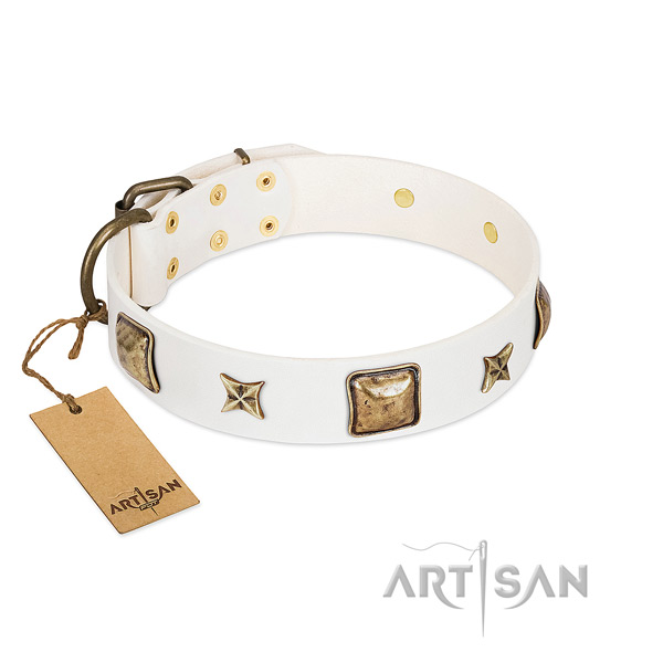 Embellished genuine leather dog collar for fancy walking