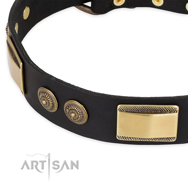 Adjustable full grain natural leather collar for your handsome canine