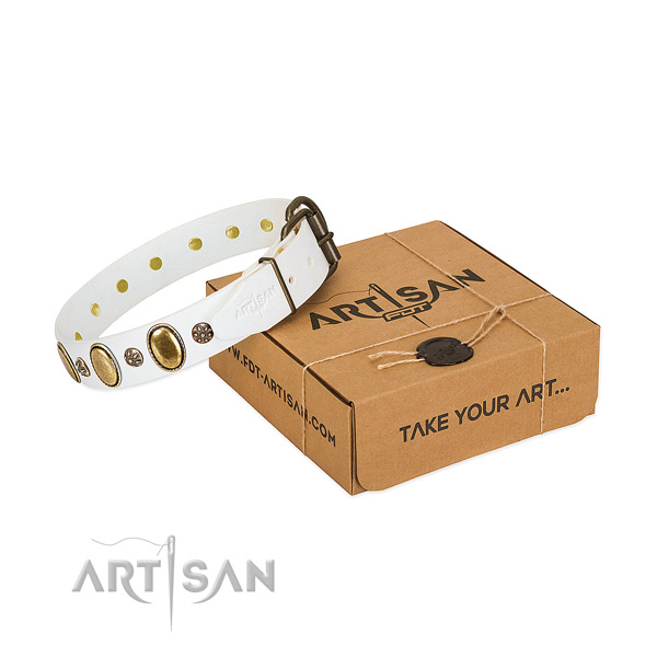 Comfortable wearing gentle to touch natural genuine leather dog collar with adornments