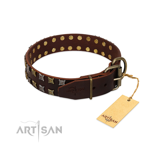 Best quality natural leather dog collar made for your dog
