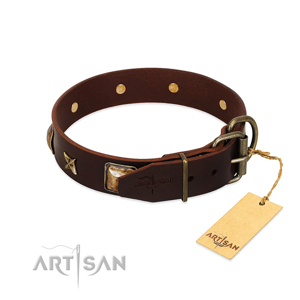 Natural genuine leather dog collar with strong D-ring and studs