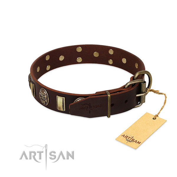 Leather dog collar with reliable traditional buckle and adornments