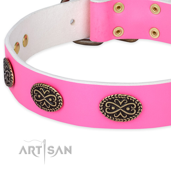 Full grain genuine leather dog collar with embellishments for comfortable wearing