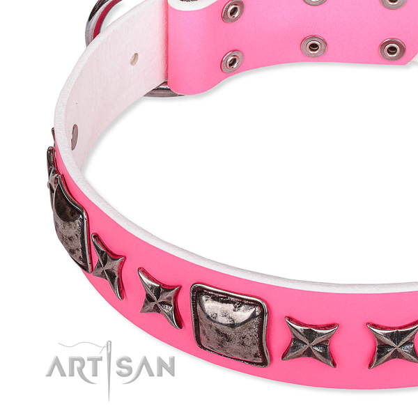 Walking decorated dog collar of high quality full grain genuine leather