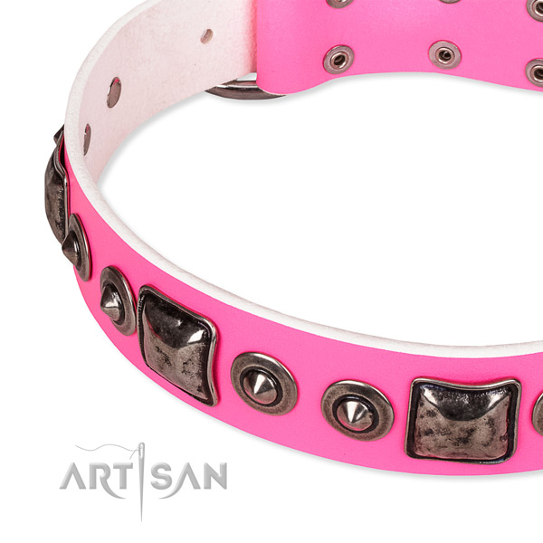 Reliable full grain natural leather dog collar created for your lovely canine