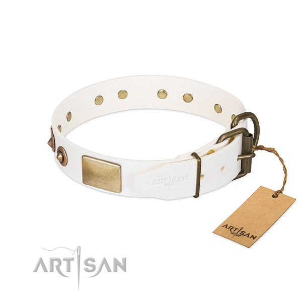 Durable D-ring on natural genuine leather dog collar for your four-legged friend