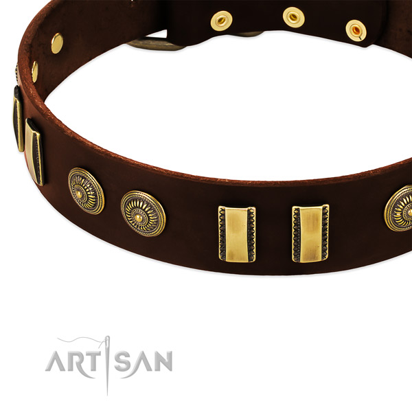 Rust resistant adornments on natural leather dog collar for your doggie