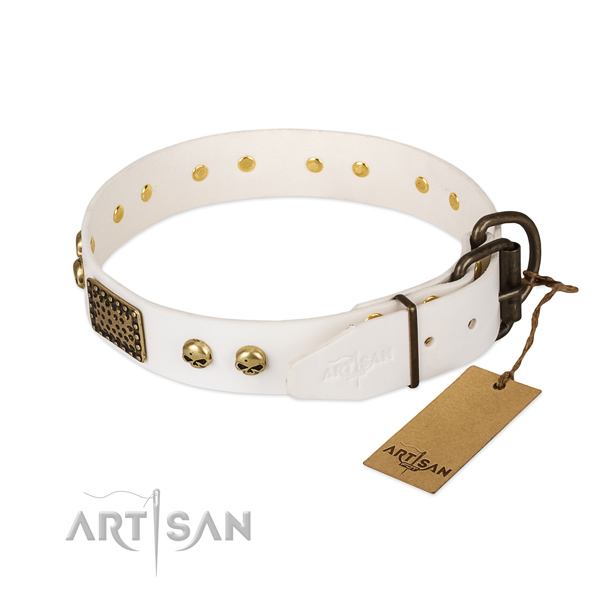 Easy wearing full grain natural leather dog collar for daily walking your pet