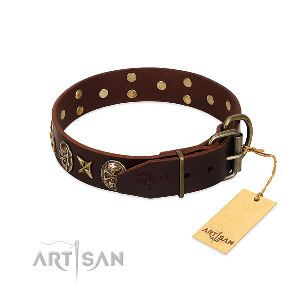 Durable buckle on full grain natural leather dog collar for your pet