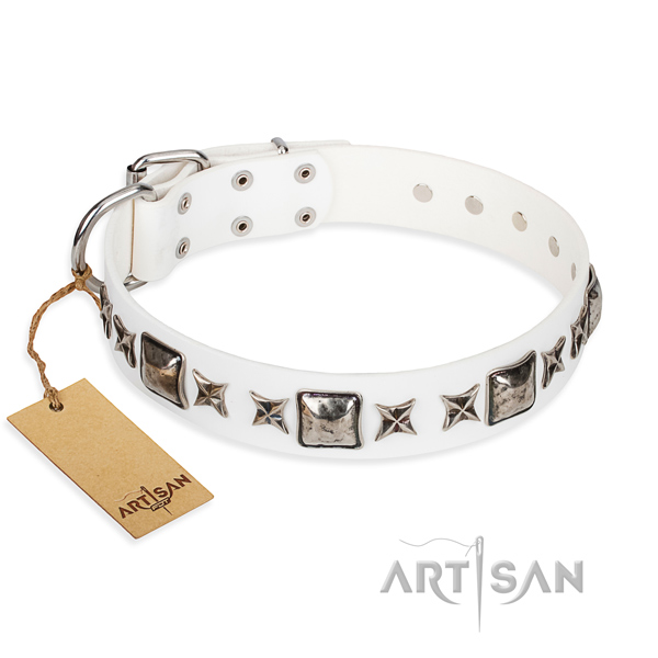Leather dog collar made of reliable material with rust resistant traditional buckle