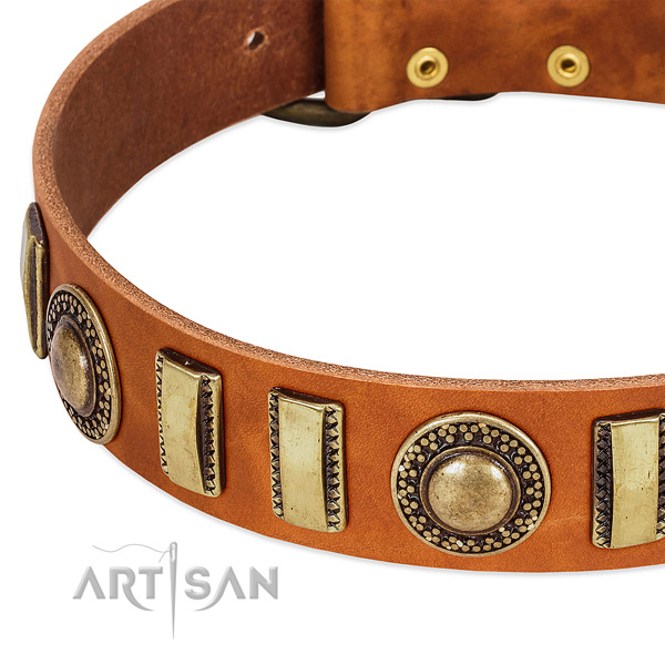 High quality genuine leather dog collar with corrosion proof hardware