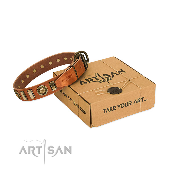 Durable genuine leather dog collar with corrosion proof buckle