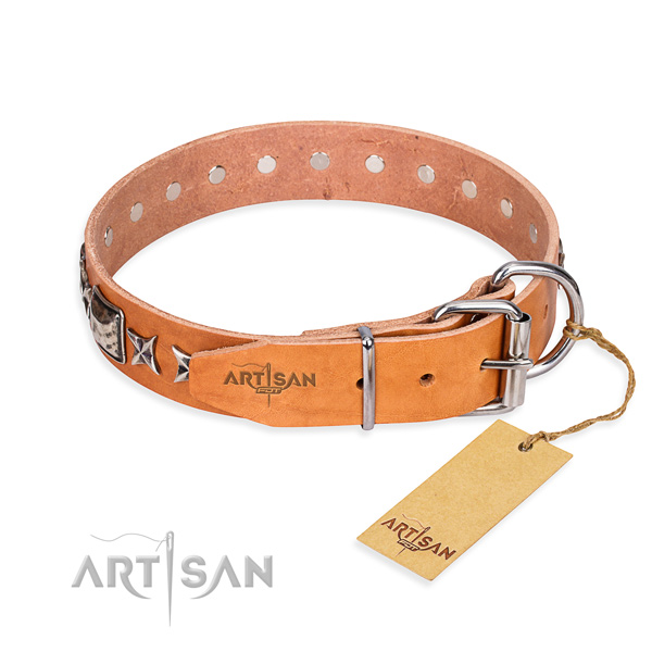Top quality studded dog collar of genuine leather
