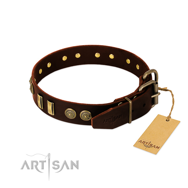 Rust resistant embellishments on full grain leather dog collar for your four-legged friend