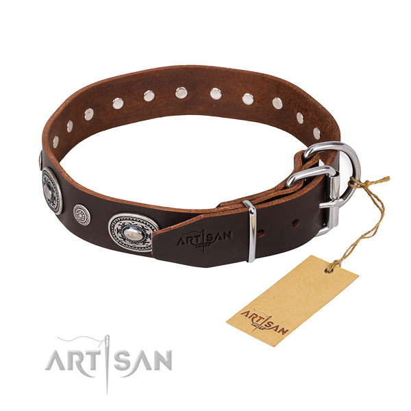 Soft to touch full grain natural leather dog collar handcrafted for fancy walking