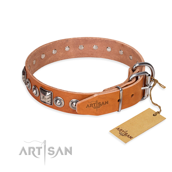 Leather dog collar made of high quality material with strong decorations