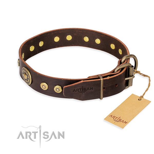 Full grain genuine leather dog collar made of reliable material with strong decorations