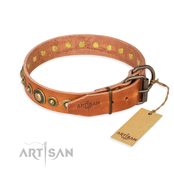 Soft natural genuine leather dog collar created for comfortable wearing