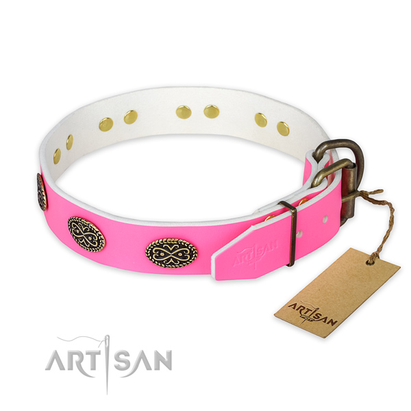 Daily walking genuine leather collar with decorations for your doggie