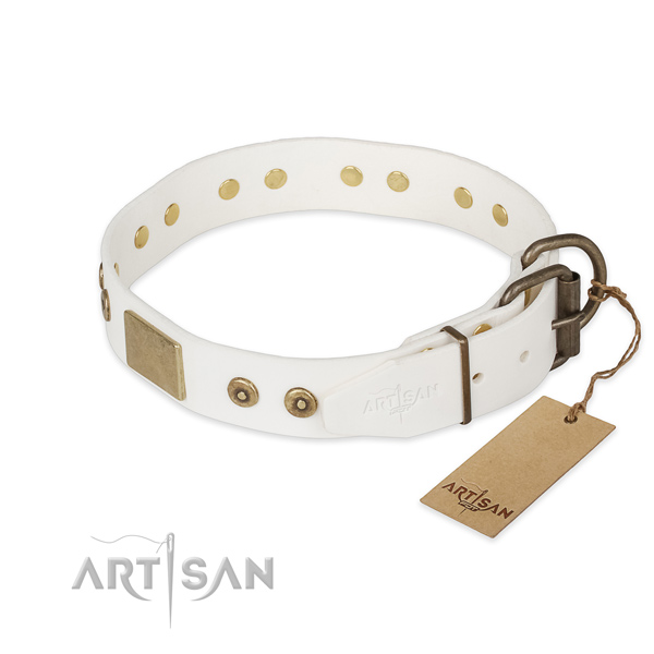 Full grain leather dog collar with rust resistant D-ring and decorations