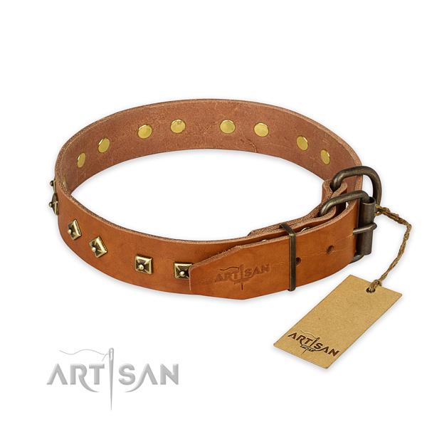 Rust-proof D-ring on natural leather collar for basic training your four-legged friend