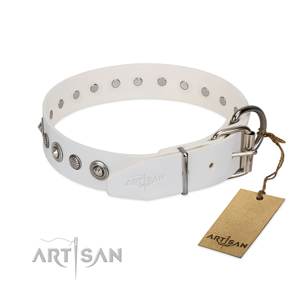 High quality leather dog collar with inimitable embellishments