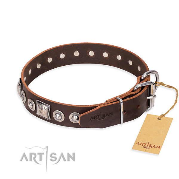 Full grain leather dog collar made of quality material with reliable studs