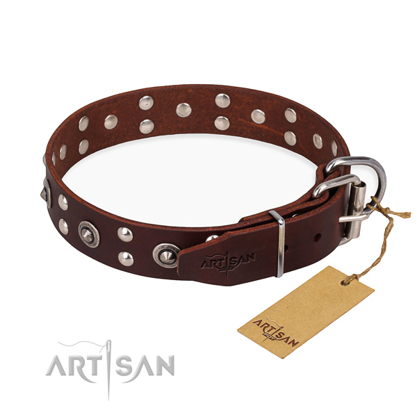 Corrosion proof traditional buckle on full grain genuine leather collar for your lovely dog