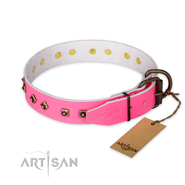 Rust resistant D-ring on full grain genuine leather collar for stylish walking your pet