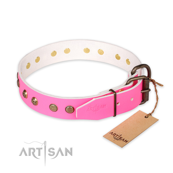 Corrosion proof fittings on natural genuine leather collar for your impressive four-legged friend