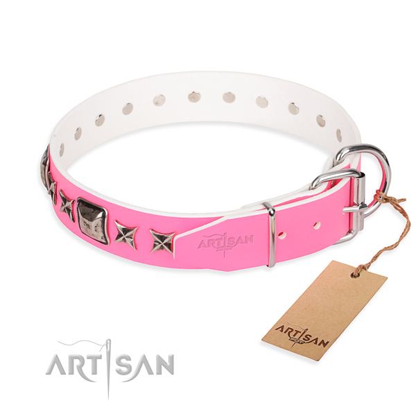 Fine quality studded dog collar of full grain genuine leather