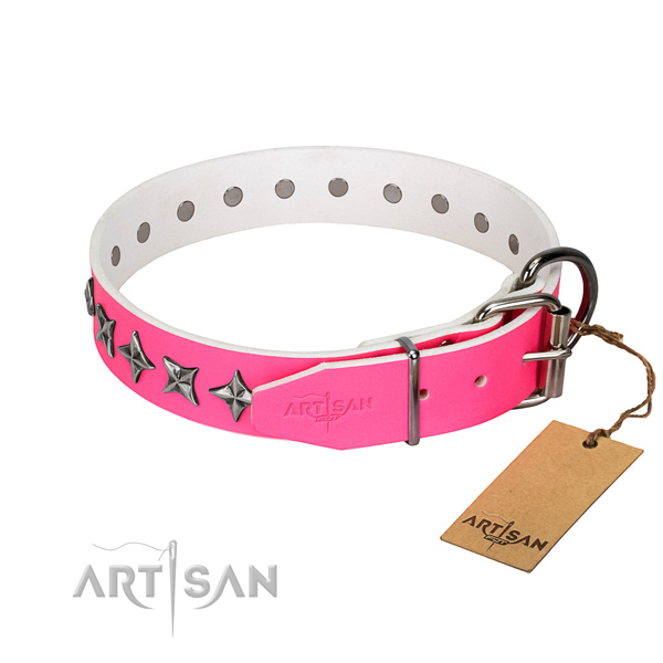 Durable full grain leather dog collar with stylish design decorations