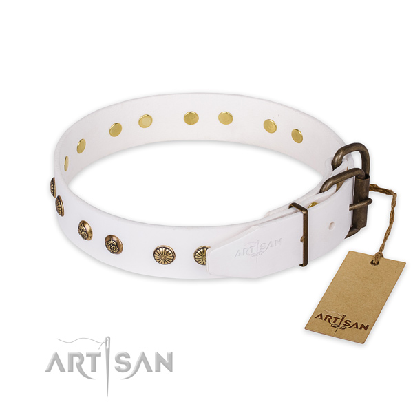 Reliable buckle on full grain genuine leather collar for your handsome four-legged friend