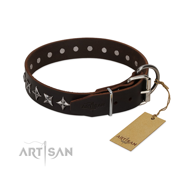 Comfy wearing studded dog collar of reliable full grain genuine leather
